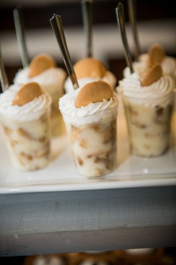 Homemade banana pudding dessert shooters