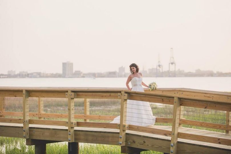 The bride on a bridge
