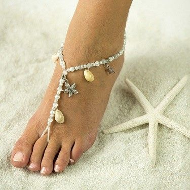 Starfish and Sea Shells Barefoot Sandals, Foot Jewelry, Wedding Sandals, Made in all Colors, FREE...