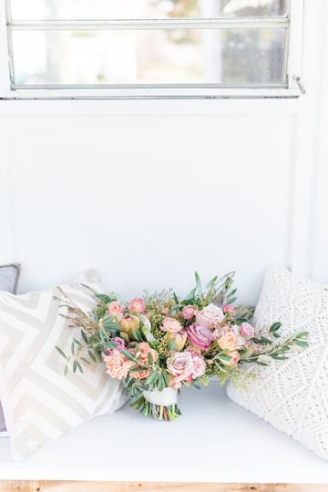 Peach and blush with olive