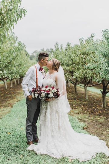 Fall wedding in peach orchard