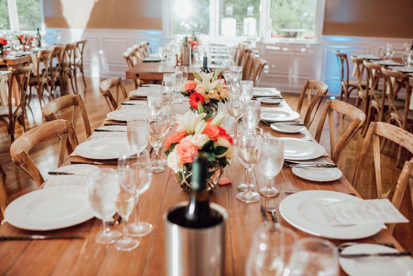 Farm tables in the ballroom