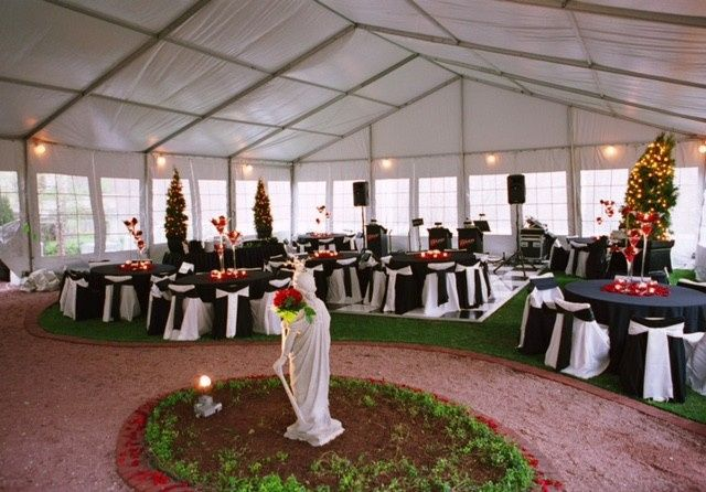 Covered outdoor wedding reception space