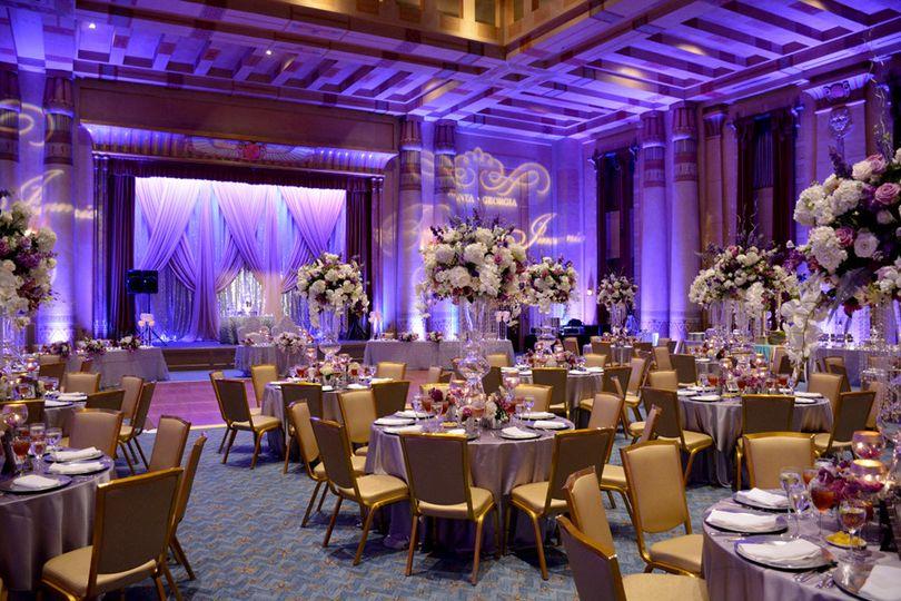 Purple reception lighting