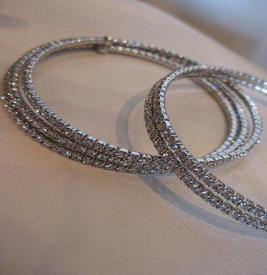 Coil Swarovski Crystal Bracelets. Triple or double rows.