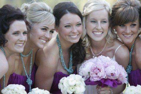 Beautiful Maylin Davis and Bridesmaids Claudia's Custom Made Jewelry.
