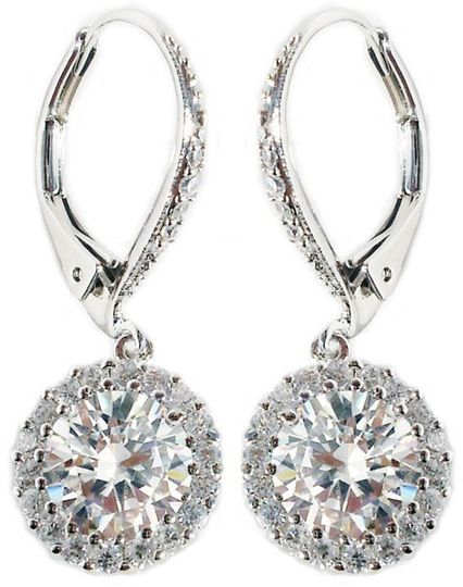 """Beautiful Sterling Silver/Rhodium 1"""" Drop with Pave CZ Diamond Leverack Earrings and a Round 1.5..."""