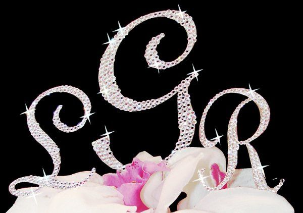 Beautiful Monogram Cake Toppers or Cake Jewelry