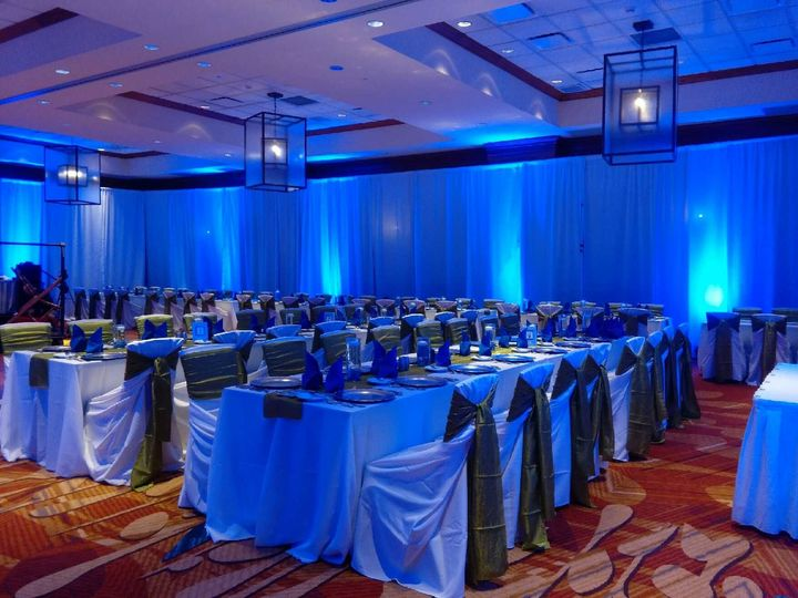 Long tables and blue lights