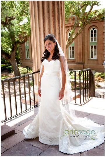 Full body photo of the bride
