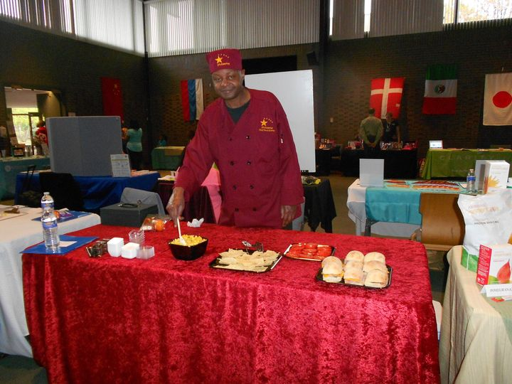 Chef Paul Curtis at JP's Catering booth at a Health Fair