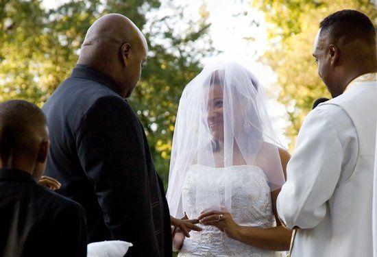 Miecha and David say their vows.