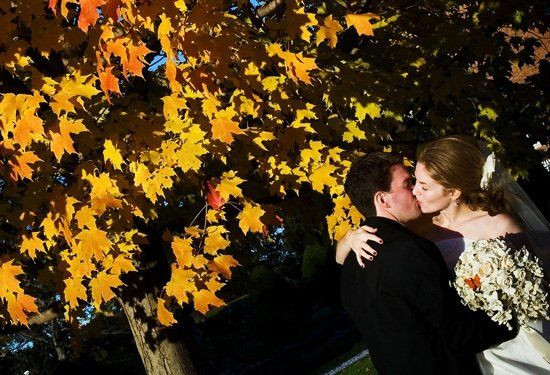 a kiss under the fall leaves