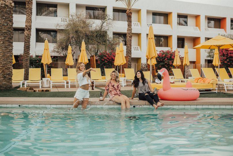 Ladies by the pool