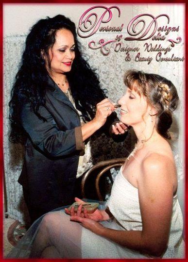 Delia preparing the bride.