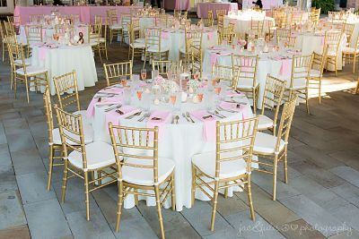 Pink and gold chairs
