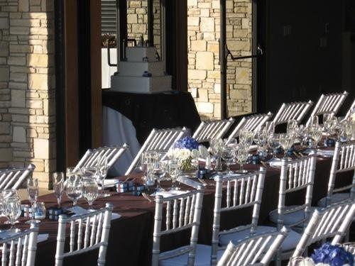 silver chiavari chairs, brown linens, cake
