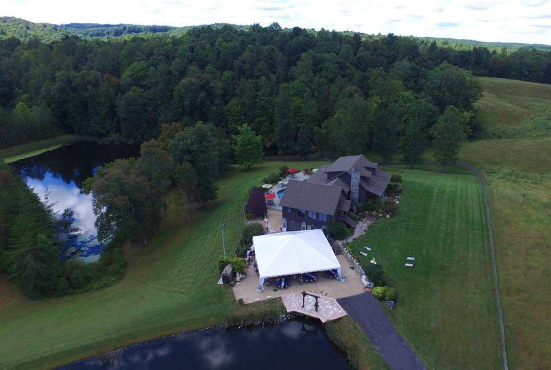 Lodge, ponds, tent