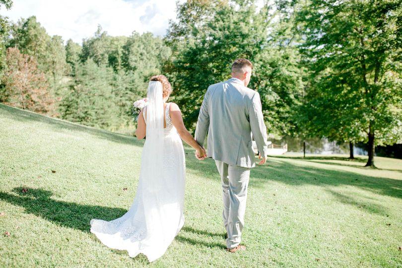 Bride & groom stroll