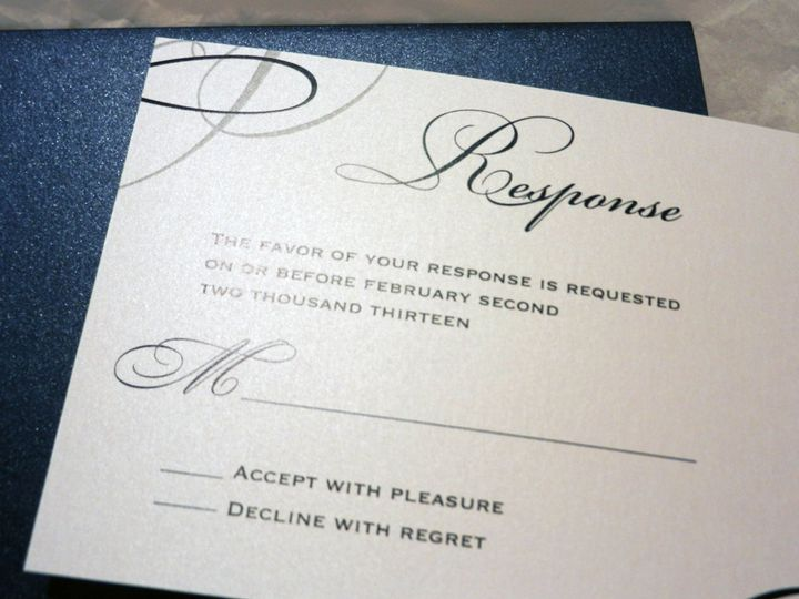 Tmx 1360162377439 BlueSilverCrystalResponse Glen Ellyn wedding invitation
