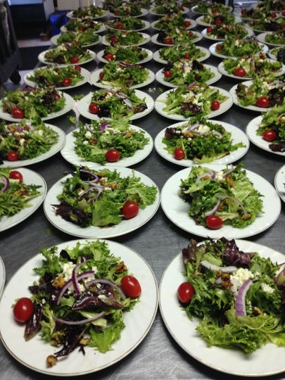 Our house salad- spring mix tossed in a balsamic vinaigrette with candied walnuts, gorgonzola...