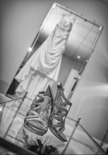 Bride's shoes and dress