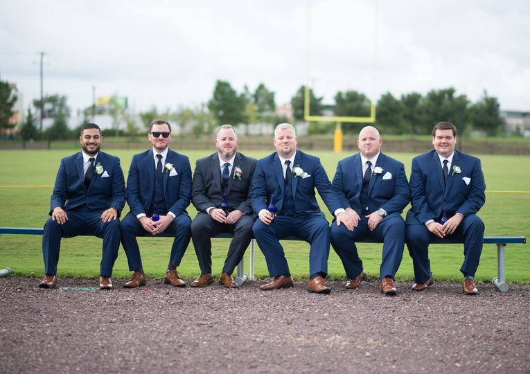 Groomsmen on the field
