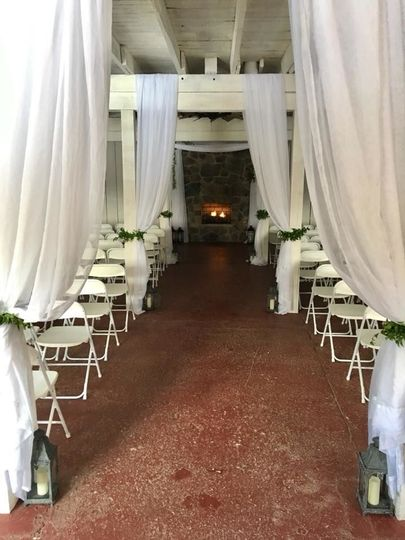 March 17 wedding The Cannery - draping