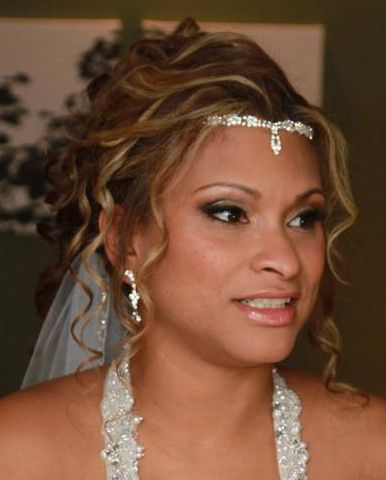 Bridal makeup and head piece