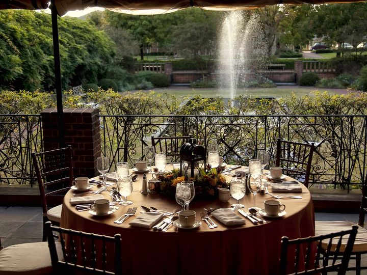 Tmx 1499887563382 Plated Dinner With Fountain In Background Williamsburg, VA wedding venue