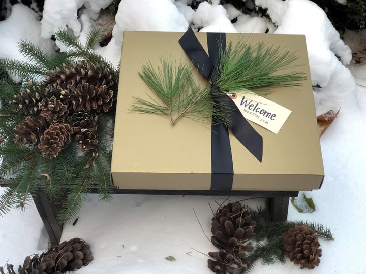 Winter wedding box ready to go