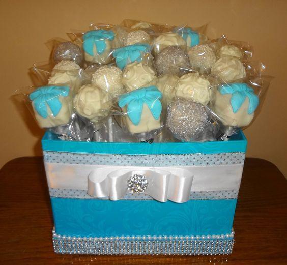 Tiffany box cake pops