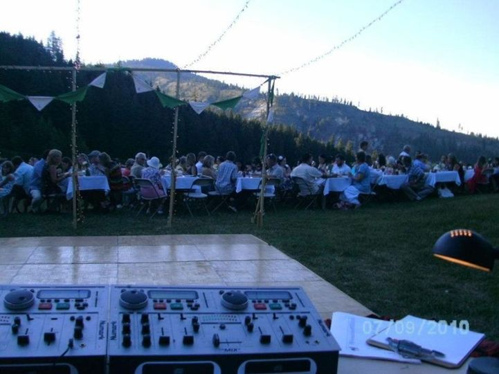 Outdoor DJ setup and dance floor