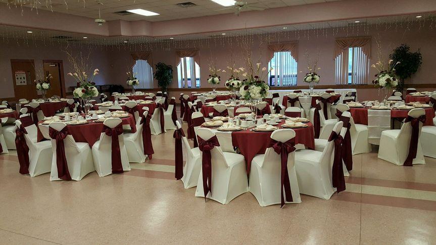 A wedding reception tablescape