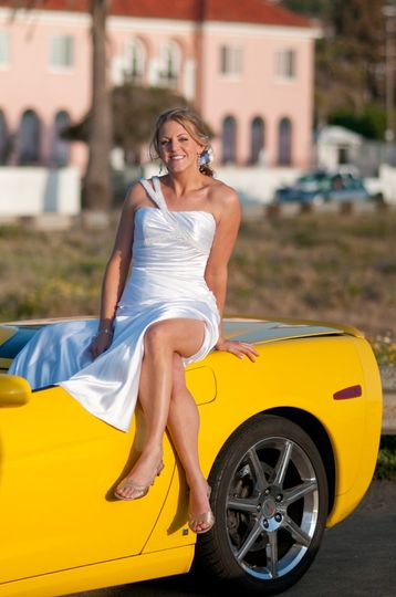 Bride on Corvette sports car