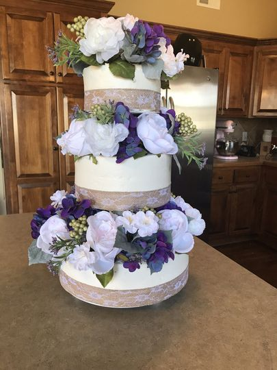Three tier cake silk flowers