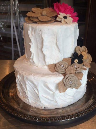 Vintage two-tier wedding cake