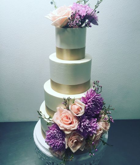Flower accents and gold ribbons
