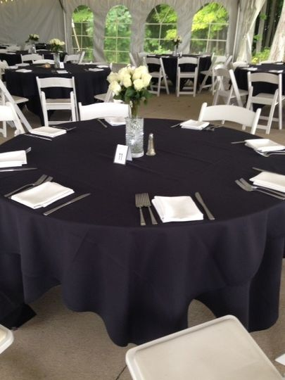 Table with black linen