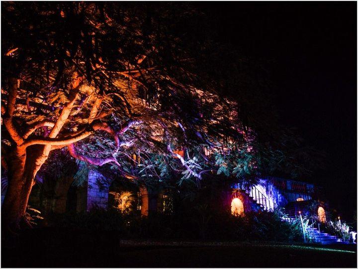 a rose hall great house wedding trees lit u