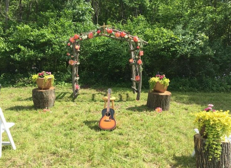 Wedding arbor and acoustic guitar