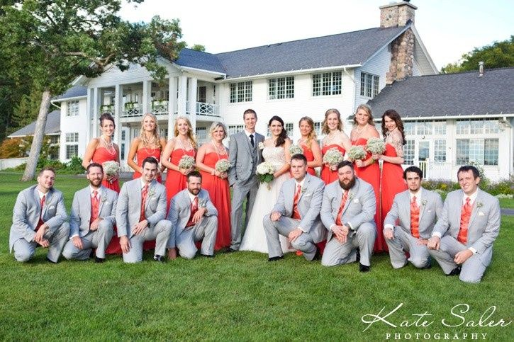 The newlyweds with their wedding party