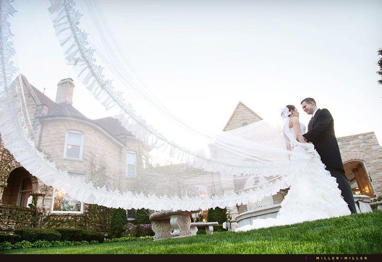 dramatic cathedral veil wedding photo