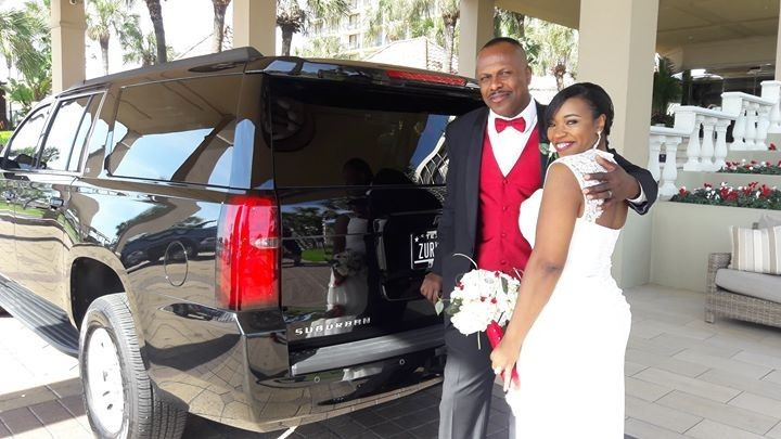 A wedding with a nice ride. Why not try us to be your Limo Service for Houston and surround areas?
