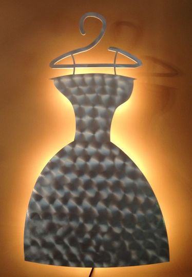 """Custom Dress Back-Lit with Swirl Design Approx size 18"""" wide X 30"""" tall Ready to hang. Every sign..."""