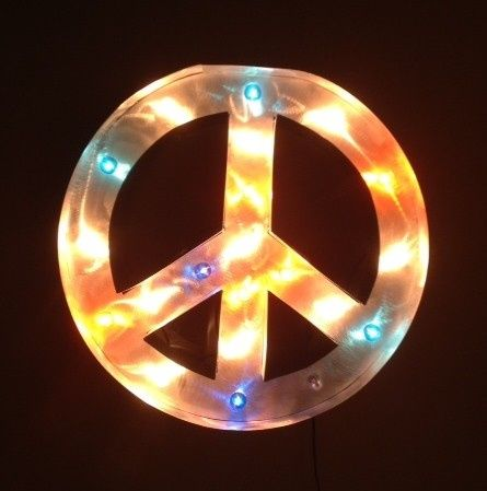 Polished silver peace sign! Can make in the rustic finish, paint it and use any color lights you...