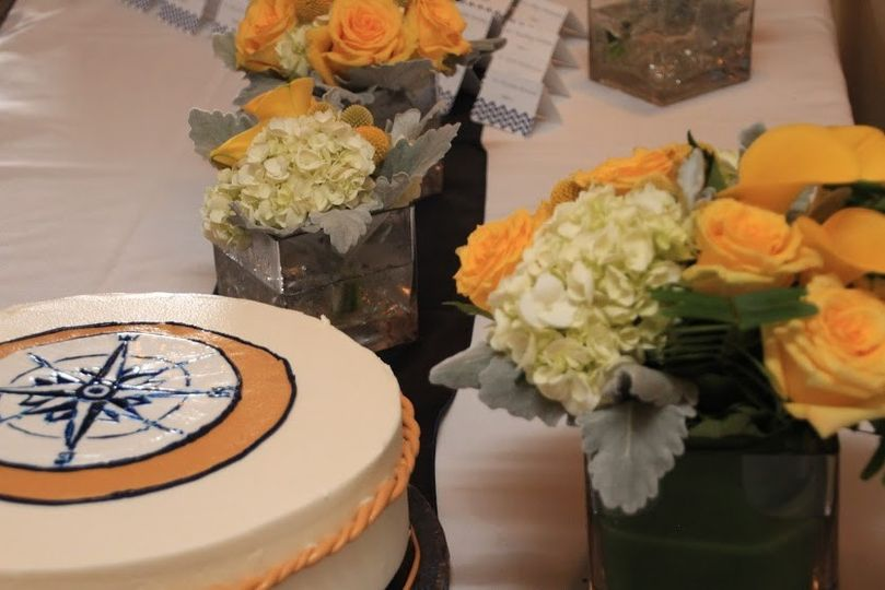 Nautical Cake and flowers on the Odyssey