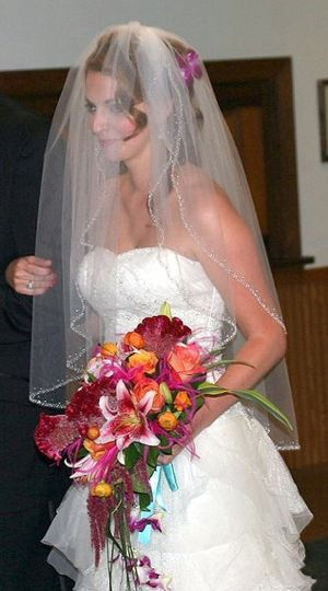 Bride holdiong her bouquet