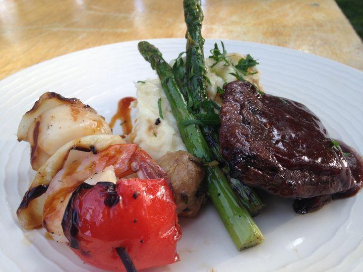 Flat iron steak and shrimp-scallop skewer