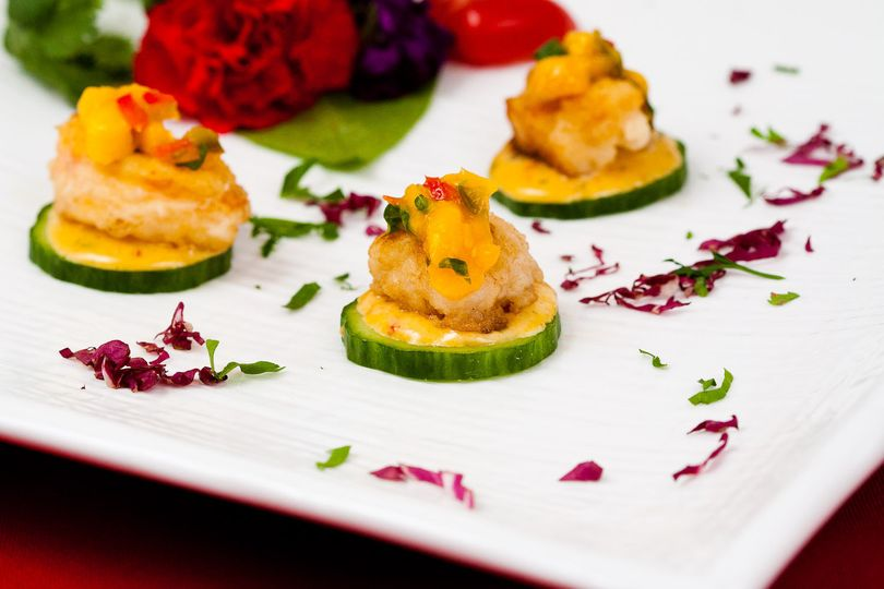 Sauteed baby lobster tails with mango